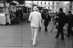 """""""Graz Street: Gentleman in White."""" - Camera: Zorki 1, Lense: Jupiter-8 2/50 , Film: Kodak Tri-X."""