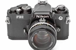 Nikon FE2 35mm Film Photography Camera in black with Nikkor AI-S 50 mm f/1.4 lens
